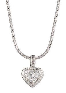 John Hardy Classic Chain White Sapphire Heart Pendant Necklace