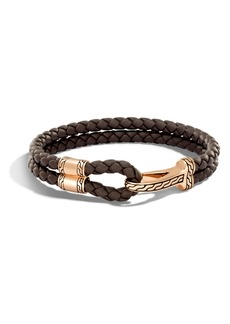 John Hardy Classic Double Leather Chain Bronze Hook Bracelet