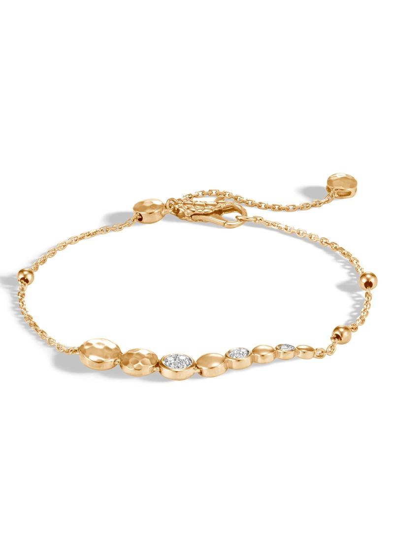 John Hardy Diamond Pavé Hammered Dot Adjustable Bracelet