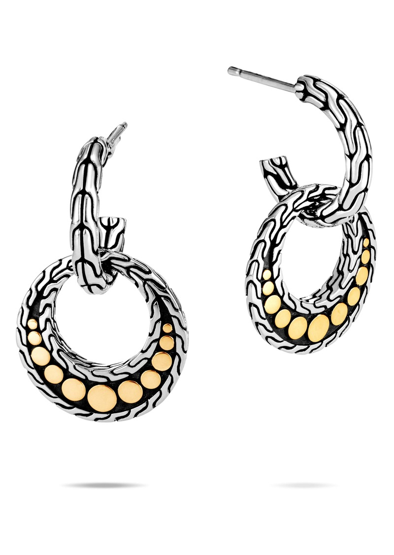 John Hardy Dot 18K Gold & Silver Drop Earrings