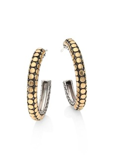 John Hardy Dot 18K Yellow Gold & Sterling Silver Hoop Earrings