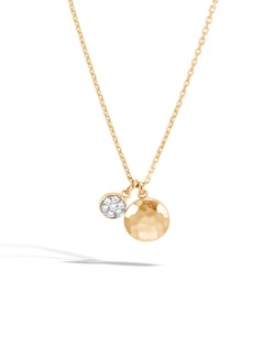 John Hardy Dot Hammered 18K Gold & Diamond Pavé Pendant Necklace