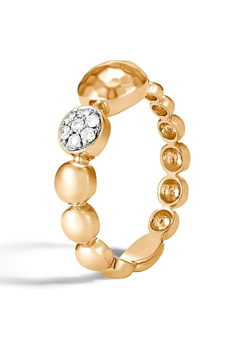 John Hardy Dot Hammered 18K Gold & Diamond Pavé Ring
