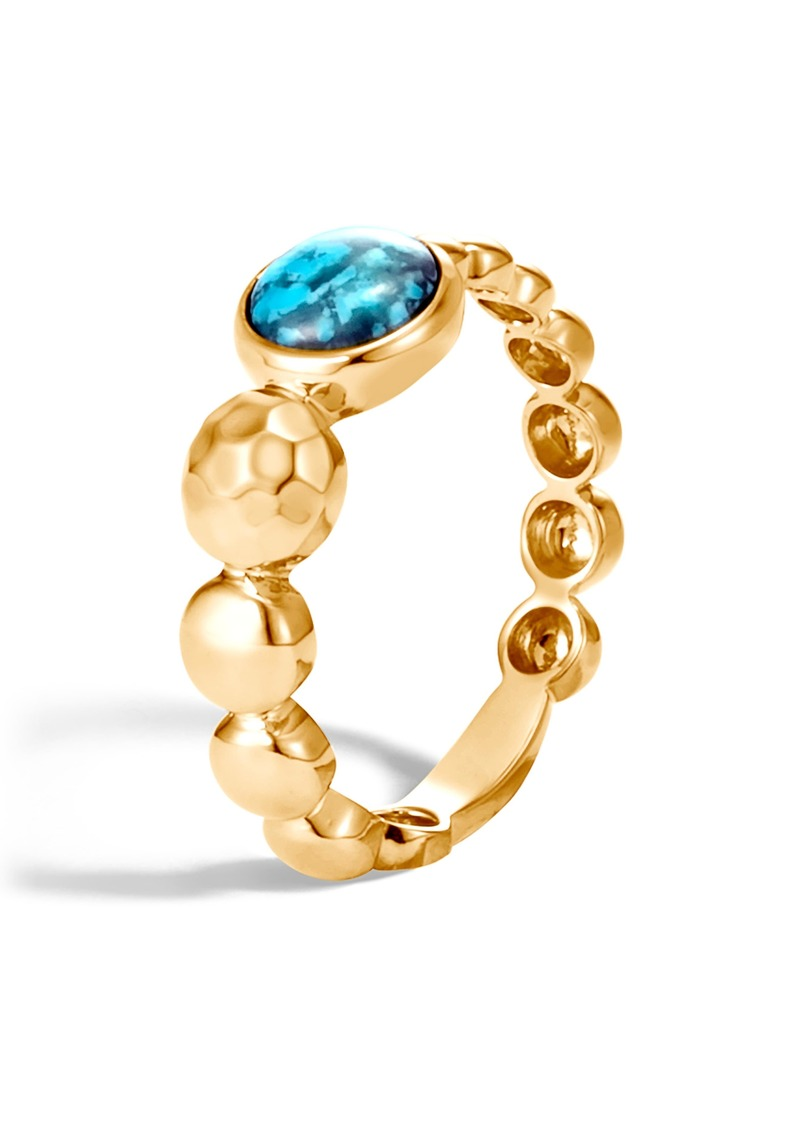 John Hardy Dot Hammered 18K Gold & Turquoise Ring