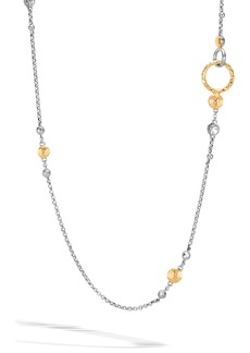 John Hardy Dot Hammered Rolo Chain Sautoir Necklace