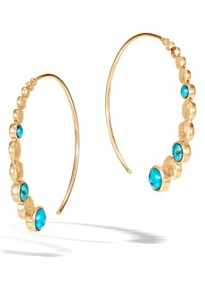 John Hardy Dot Hammered Turquoise Threader Hoop Earrings