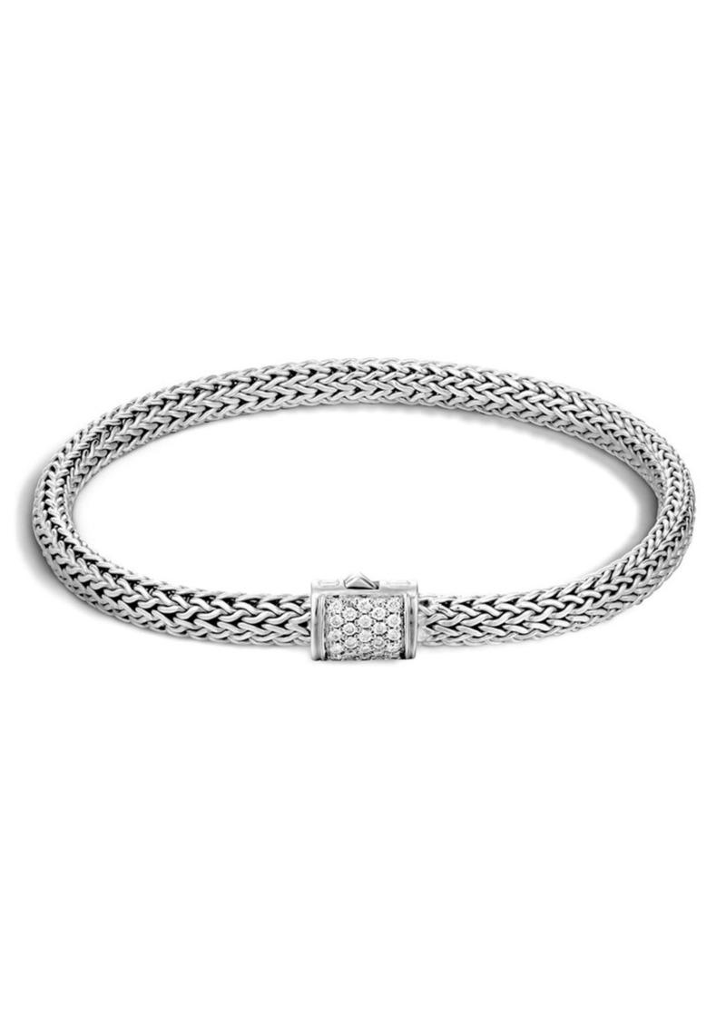 John Hardy Extra Small Chain Bracelet With Diamond Clasp