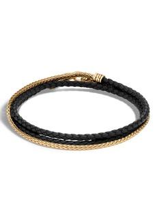 John Hardy Gold Chain & Braided Leather Triple Row Bracelet
