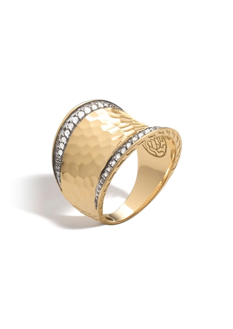 John Hardy Hammered Saddle Ring with Diamonds