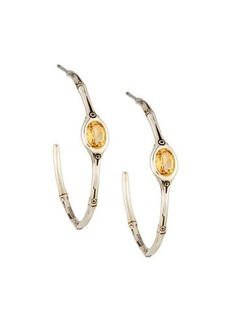 John Hardy Honey Citrine Bamboo Hoop Earrings