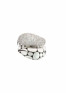 John Hardy Kali Arus Pebble Cocktail Ring with White Sapphires