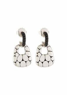 John Hardy Kali Silver Lava Drop Earrings w/ Black Sapphires