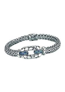 John Hardy Kali Sterling Silver Bangle Bracelet with Blue Topaz and Iolite