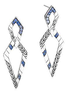 John Hardy Lahar Interlink Sterling Silver & Sapphire Drop Earrings