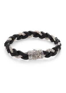 John Hardy Leather and Silver Braided Bracelet