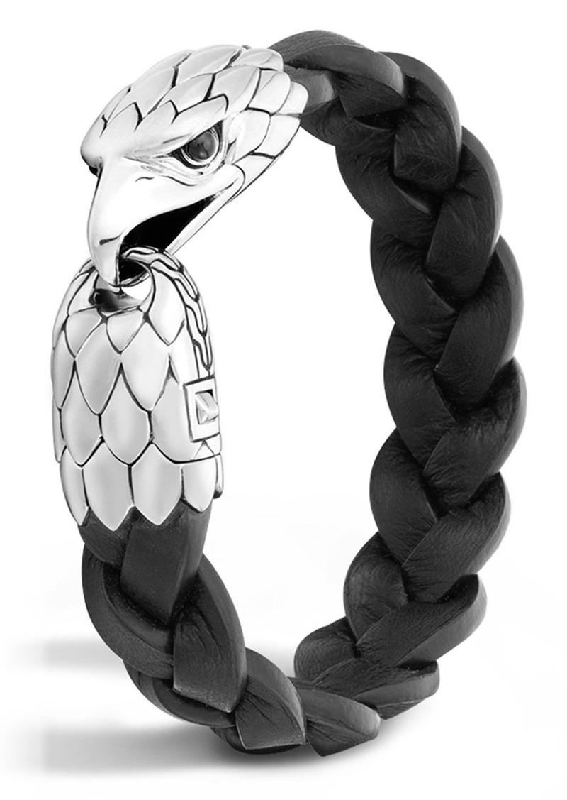 John Hardy Legends Eagle Silver & Leather Braided Bracelet