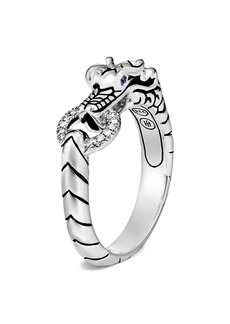 John Hardy Legends Naga Silver Diamond Ring