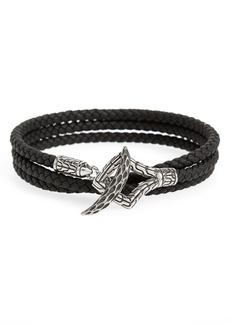 John Hardy Legends Naga Triple Wrap Leather Bracelet