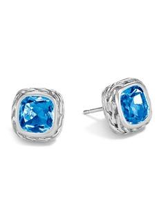 John Hardy Magic Cut Blue Topaz Stud Earrings