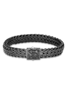 John Hardy Men's Blackened Sterling Silver Classic Chain Large Flat Link Bracelet with Black Sapphire