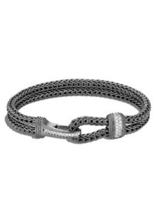 John Hardy Men's Classic Chain Double Flat Chain Bracelet with Pavé Diamonds