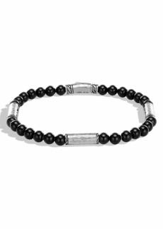 John Hardy Men's Classic Chain Hammered Sterling Silver & Onyx Bead Bracelet
