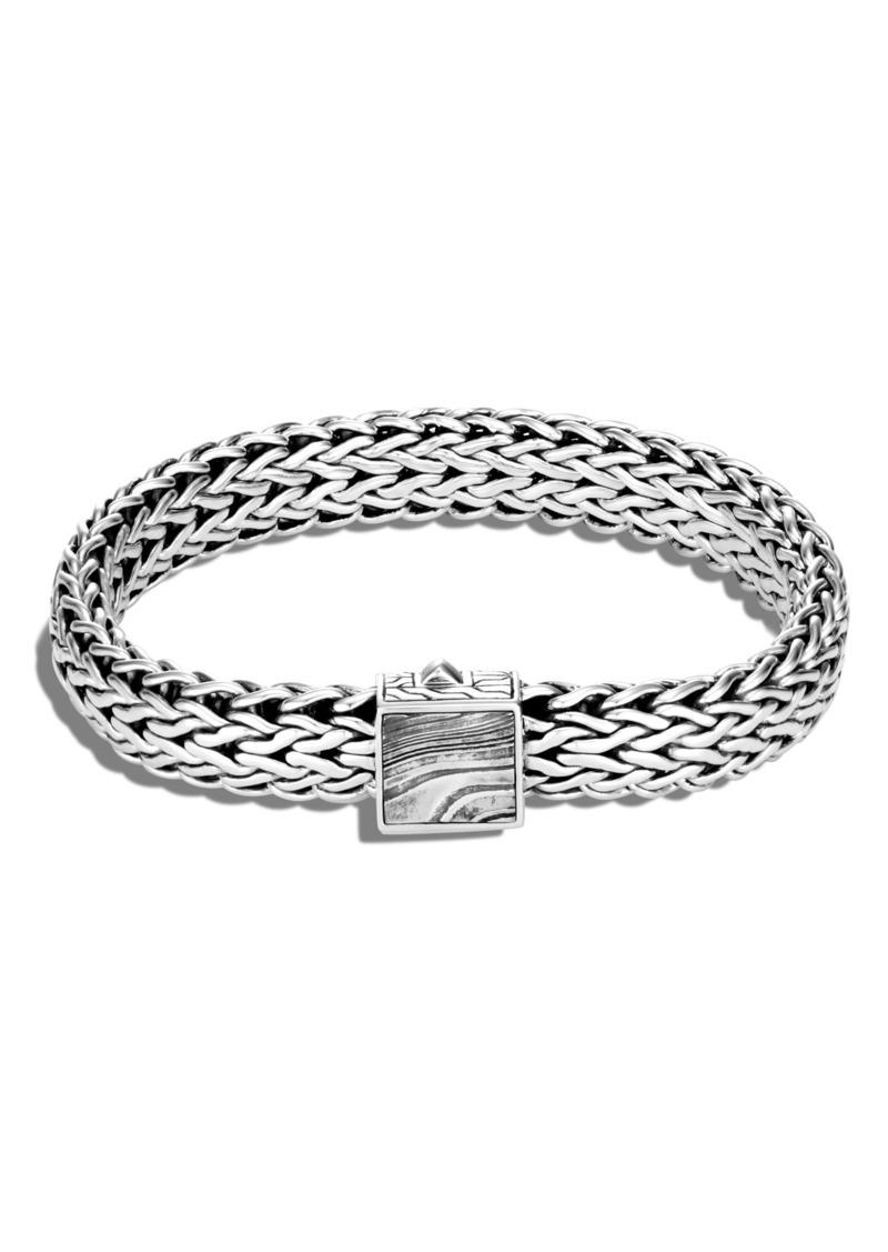 John Hardy Men's Classic Chain Large Flat Chain 11mm Bracelet with Damascus Steel