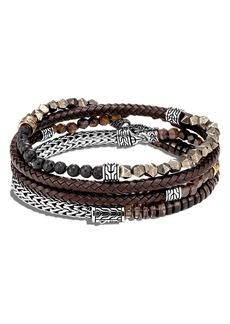 John Hardy Men's Classic Chain Multi Wrap Leather Bracelet