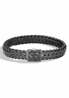 John Hardy Men's Classic Chain Rhodium-Plated Bracelet with Black Sapphire
