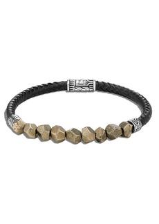 John Hardy Men's Classic Chain Rugged Silver Leather Bracelet