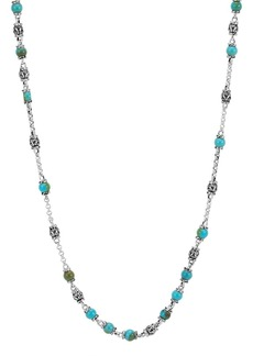 John Hardy Men's Classic Chain Silver & Turquoise Bead Necklace