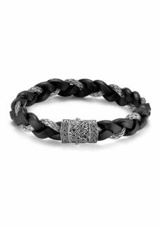 John Hardy Men's Classic Chain Silver Braided Bracelet w/Leather Cord