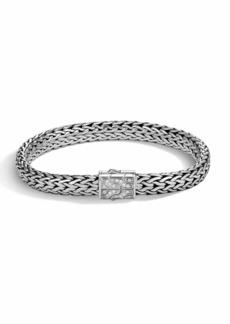 John Hardy Men's Classic Chain Silver Diamond Pave Flat Chain Bracelet - Medium