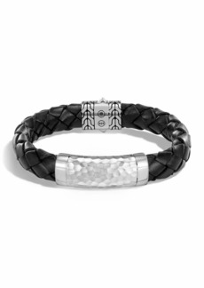 John Hardy Men's Large 12mm Classic Chain Woven Leather Bracelet