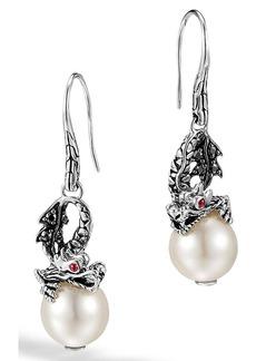John Hardy 'Naga - Lava' Dragon & Pearl Drop Earrings