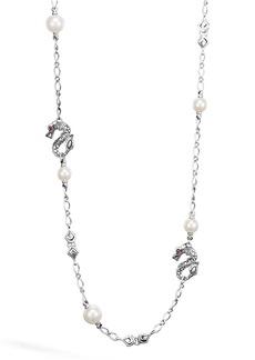 John Hardy 'Naga' Dragon & Pearl Station Necklace