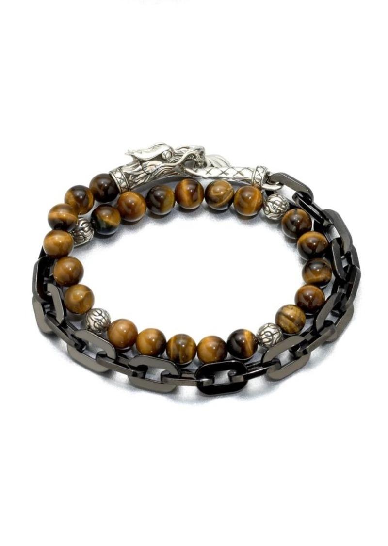 John Hardy Naga Silver Beaded Bracelet