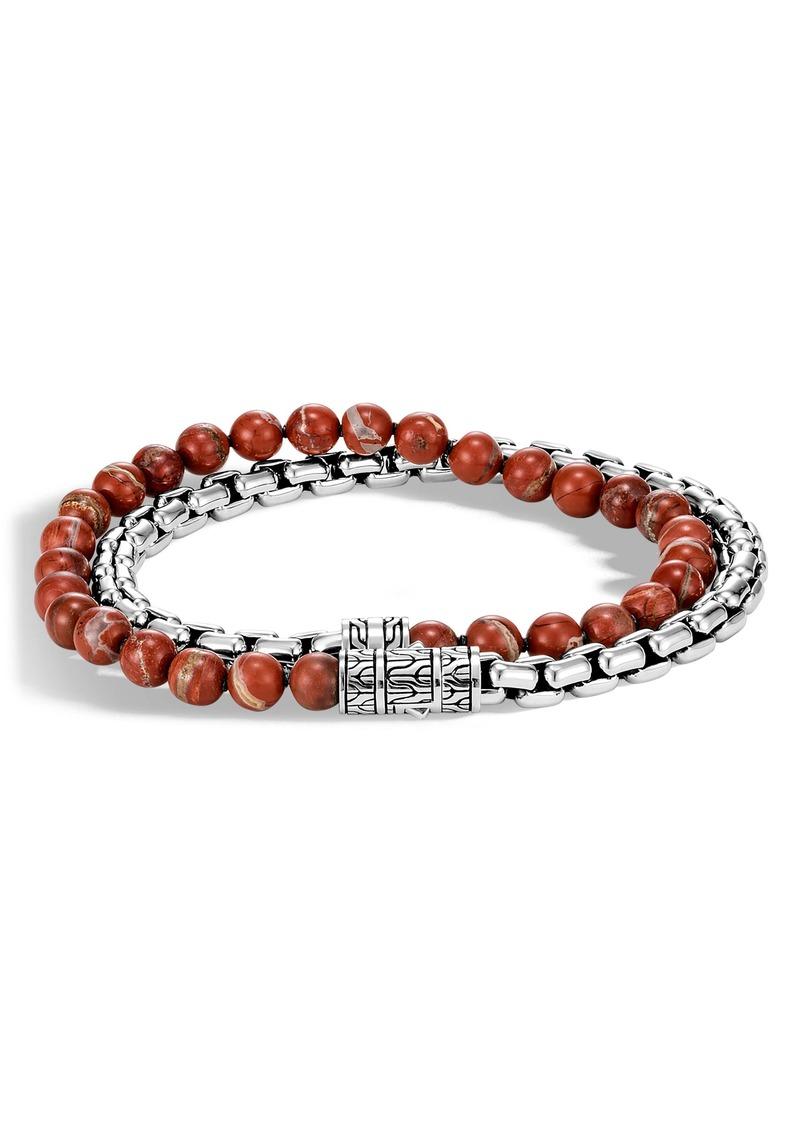 John Hardy Red Bead & Box Chain Bracelet