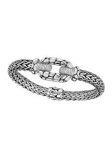 John Hardy Silver White Topaz Lava Station Bracelet