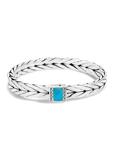 John Hardy Sterling Silver Modern Chain Turquoise with Black Matrix Bracelet