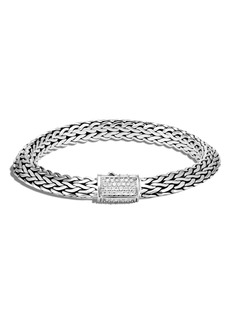John Hardy Tiga Chain Diamond Clasp 8mm Bracelet