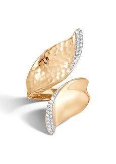 John Hardy Wave Hammered 18K Gold & Diamond Pavé Bypass Ring
