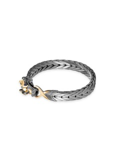 John Hardy Legends Naga 18K Yellow Gold & Silver Sapphire Dragon Bracelet