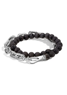 John Hardy Men's Batu Double-Wrap Bead Bracelet  Black