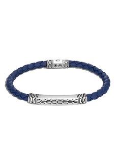 John Hardy Men's Classic Chain Braided Leather/Silver Bracelet, Size M-L