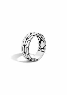 John Hardy Men's Silver Woven Chain Ring  Size 10