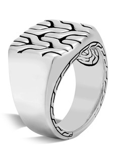 John Hardy Men's Sterling Silver Classic Chain Signet Ring - Size 10