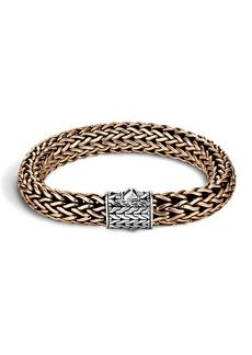 John Hardy Men's Two-Tone Woven Chain Bracelet  Silver/Bronze  Size M