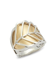 John Hardy Modern Chain Sterling Silver & 18K Yellow Gold Ring/Size 6