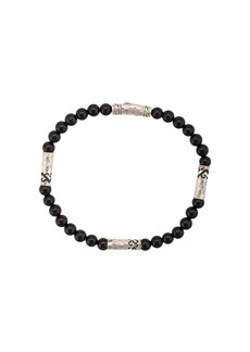 John Hardy Silver Classic Chain Onyx Round Bead Four-Station Bracelet
